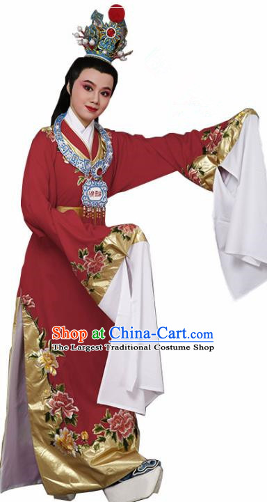 Handmade Chinese Beijing Opera Niche Red Costume Traditional Peking Opera Nobility Childe Clothing for Men