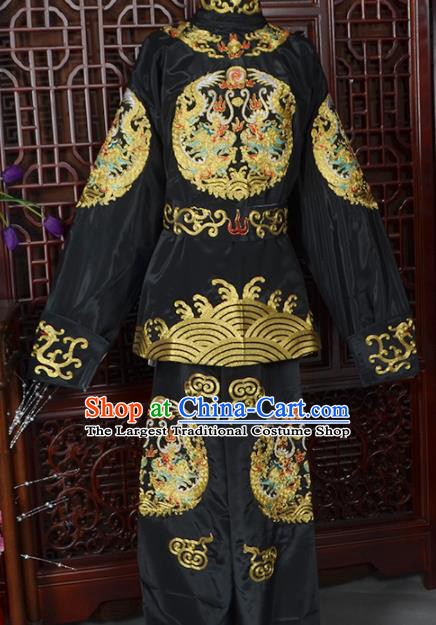 Handmade Chinese Beijing Opera Takefu Black Costume Traditional Peking Opera Soldier Clothing for Men