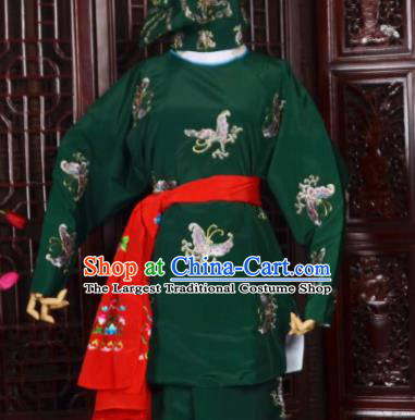 Handmade Chinese Beijing Opera Soldier Green Costume Traditional Peking Opera Takefu Embroidered Butterfly Clothing for Men