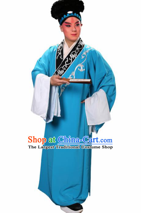 Handmade Chinese Beijing Opera Niche Costume Traditional Peking Opera Scholar Embroidered Light Blue Robe for Men