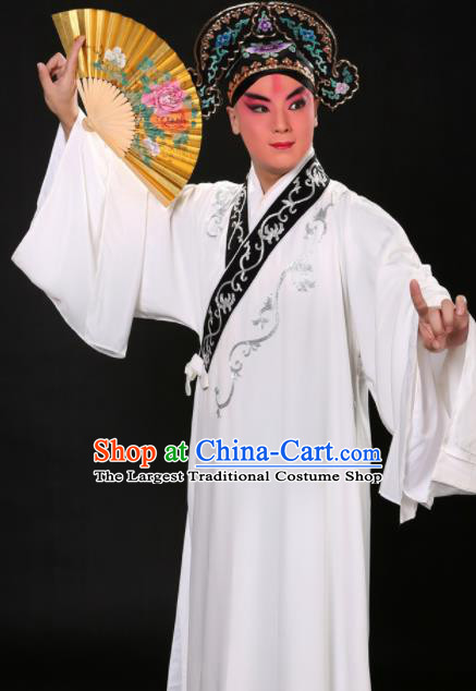 Handmade Chinese Beijing Opera Niche Costume Traditional Peking Opera Scholar Embroidered White Robe for Men