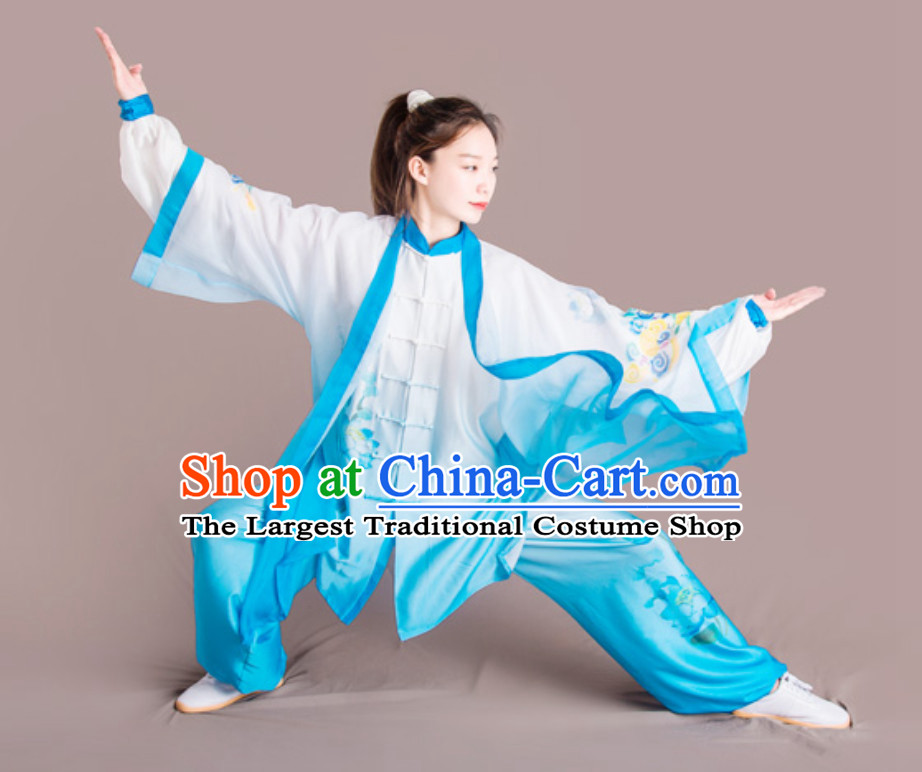 Lotus Good Meaning Top Chinese Classical Competition Championship Professional Tai Chi Uniforms Clothing and Mantle Complete Set for Women
