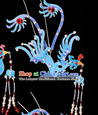 Chinese Handmade Beijing Opera Hair Accessories Traditional Ancient Princess Tassel Phoenix Hairpins for Women