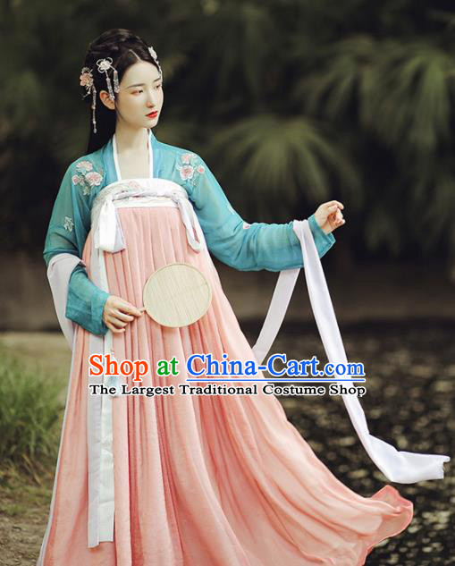 Ancient Chinese Tang Dynasty Court Maid Hanfu Dress Traditional Palace Historical Costume for Women