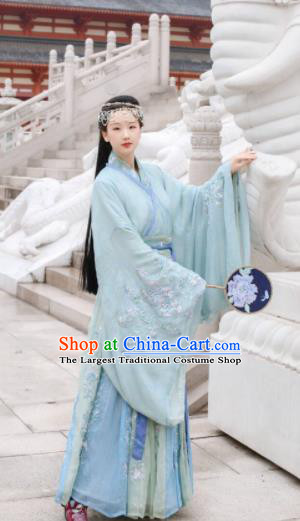 Traditional Chinese Jin Dynasty Swordswoman Embroidered Hanfu Dress Ancient Drama Court Princess Historical Costume for Women
