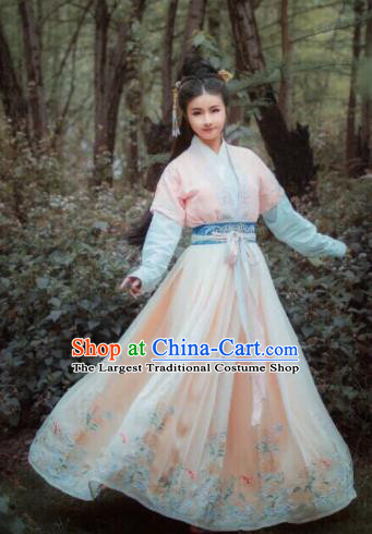Traditional Chinese Jin Dynasty Palace Lady Embroidered Hanfu Dress Ancient Drama Princess Historical Costume for Women