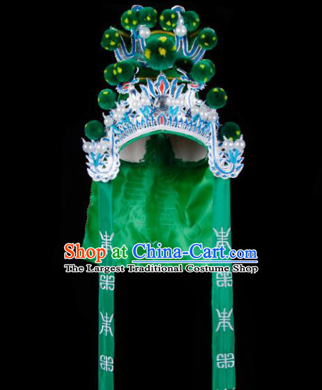 Chinese Handmade Beijing Opera Takefu Hat Traditional Ancient General Green Helmet for Men