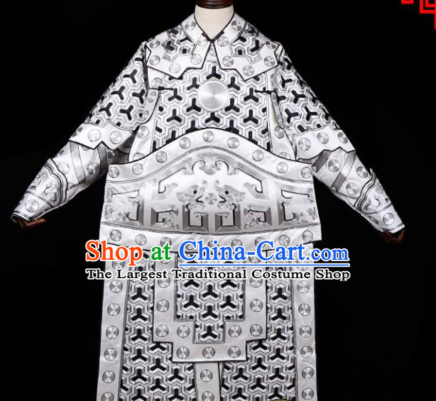 Handmade Chinese Beijing Opera General White Costume Traditional Peking Opera Takefu Clothing for Men