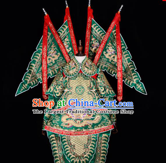 Handmade Chinese Beijing Opera General Green Costume Traditional Peking Opera Takefu Clothing for Men