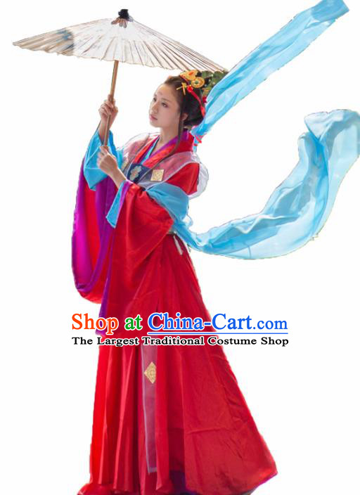 Traditional Chinese Cosplay Imperial Consort Red Hanfu Dress Ancient Peri Princess Costume for Women
