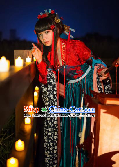 Traditional Chinese Cosplay Swordswoman Red Hanfu Dress Ancient Court Lady Costume for Women