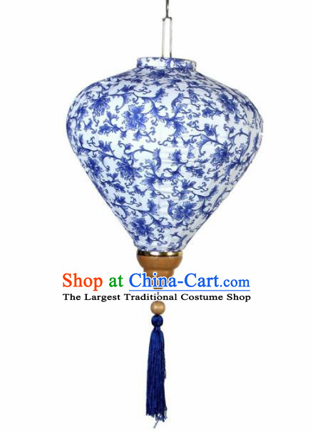 Handmade Traditional Chinese Lantern Ceiling Lanterns Hand Painting Blue Peony Lantern New Year Lantern
