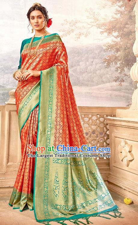 Indian Traditional Costume Asian India Red Brocade Sari Dress Bollywood Court Queen Clothing for Women