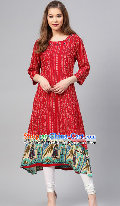 Asian India Traditional Informal Costumes South Asia Indian National Red Blouse and Pants for Women