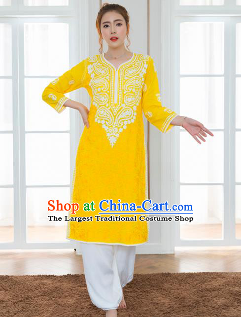 Asian India Traditional Informal Costumes South Asia Indian National Yellow Blouse and Pants for Women