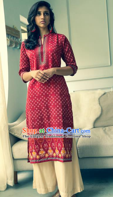 Asian India Traditional Informal Costumes South Asia Indian National Purplish Red Blouse and Pants for Women