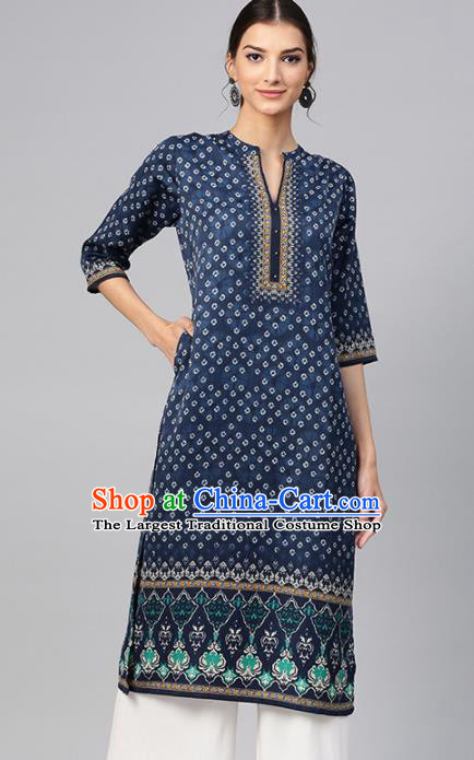 Asian India Traditional Informal Costumes South Asia Indian National Navy Blouse and Pants for Women