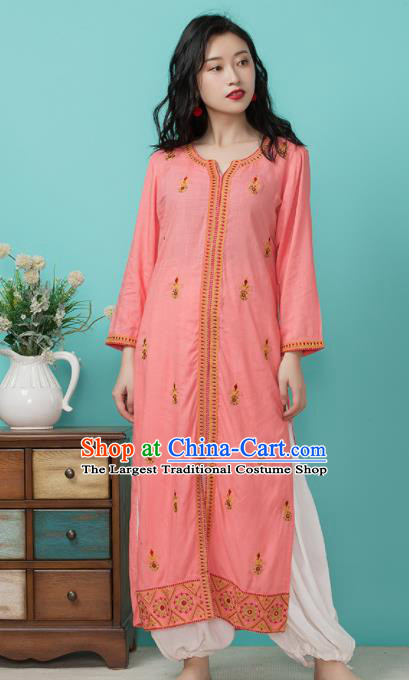 Asian India Traditional Informal Punjabi Costumes South Asia Indian National Pink Blouse and Pants for Women