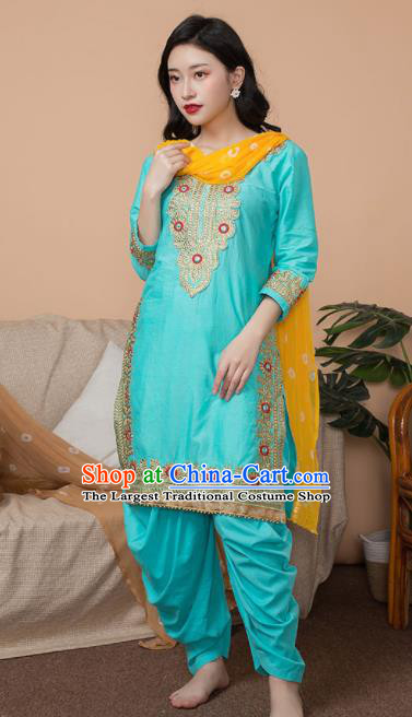 Asian India Traditional Informal Punjabi Costumes South Asia Indian National Blue Blouse and Pants for Women