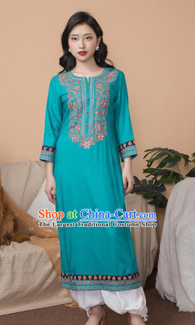 Asian India Traditional Punjabi Costumes South Asia Indian National Informal Blue Blouse and Pants for Women