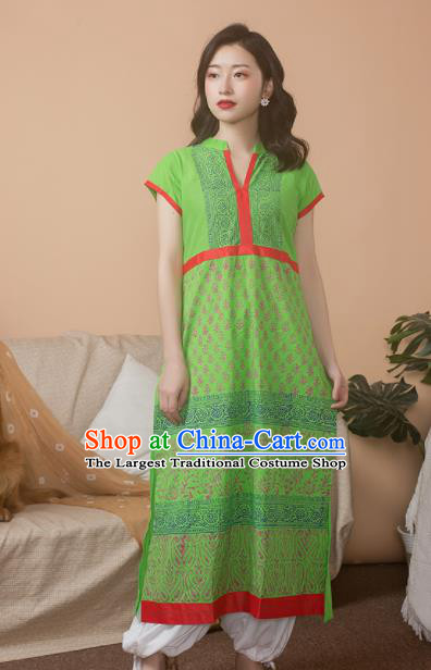 Asian India Traditional Punjabi Costumes South Asia Indian National Informal Green Blouse and Pants for Women