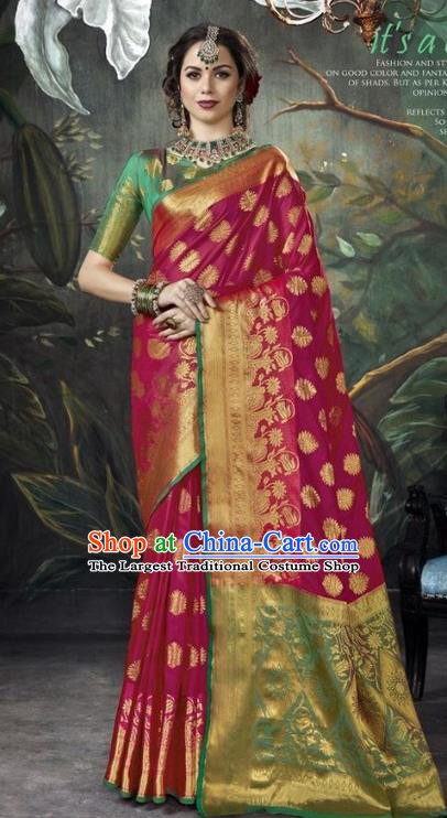 Asian India Rosy Sari Dress Indian Traditional Court Costume Bollywood Queen Clothing for Women