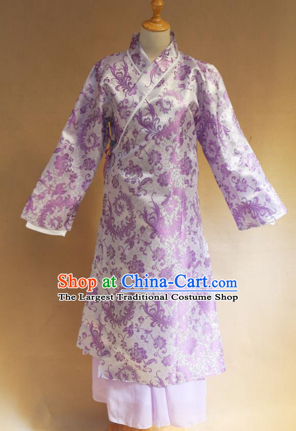 Traditional Chinese Ming Dynasty Young Lady Purple Hanfu Dress Ancient Maidservants Costume for Women
