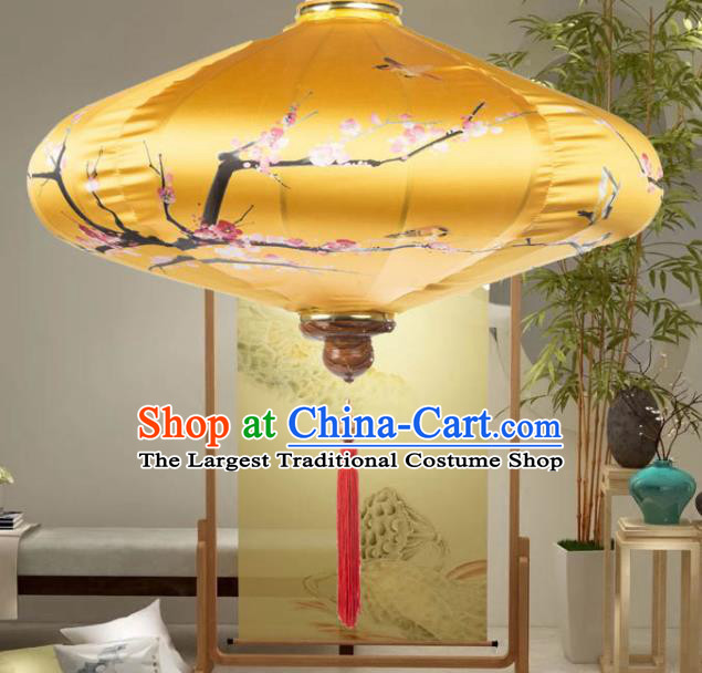 Chinese Traditional Lantern Handmade Printing Plum Blossom Golden Lanterns Ceiling Lamp New Year Lantern
