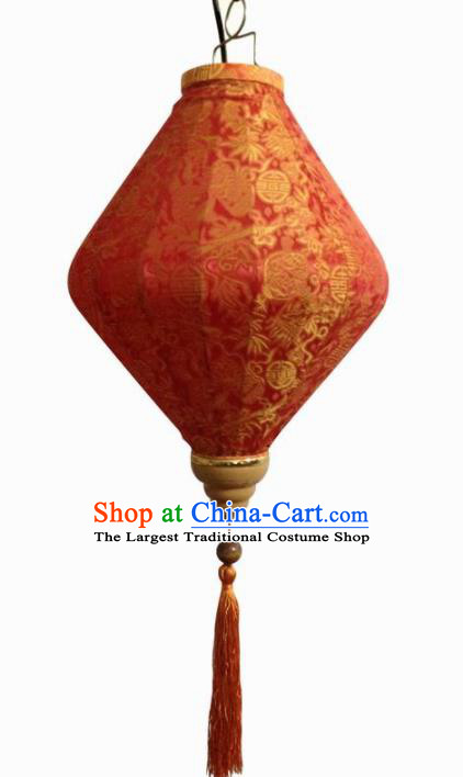 Chinese Traditional New Year Lantern Handmade Red Lanterns Ceiling Lamp