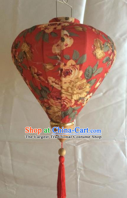 Chinese Traditional New Year Lantern Handmade Printing Red Lanterns Ceiling Lamp