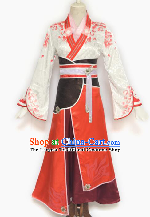 Traditional Chinese Cosplay Swordswoman Hanfu Dress Ancient Female Knight Costume for Women