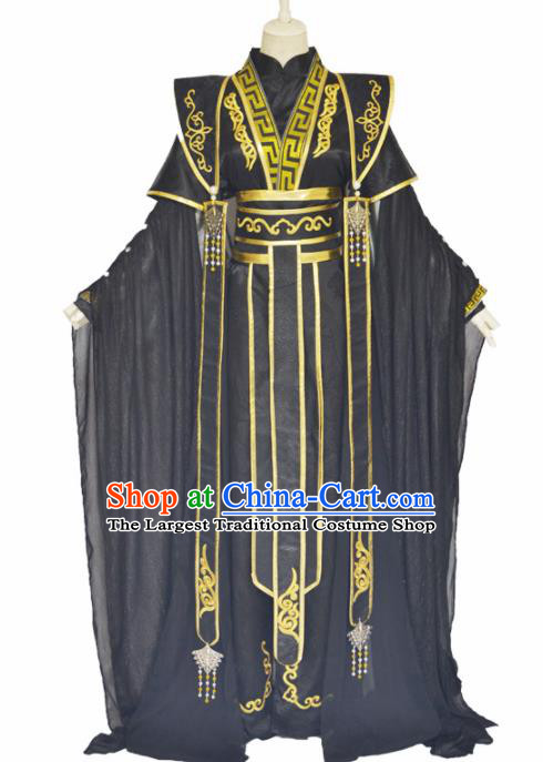 Traditional Chinese Jin Dynasty Swordsman Black Clothing Ancient Royal Highness Costume for Men