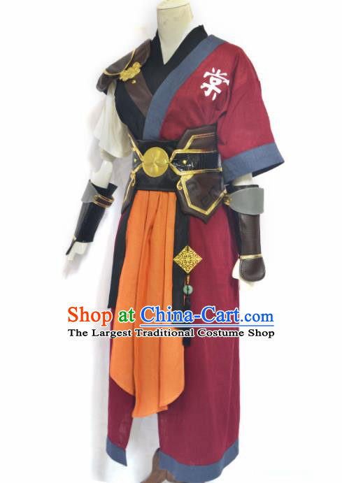 Traditional Chinese Cosplay Swordsman Clothing Ancient Imperial Bodyguard Red Costume for Men