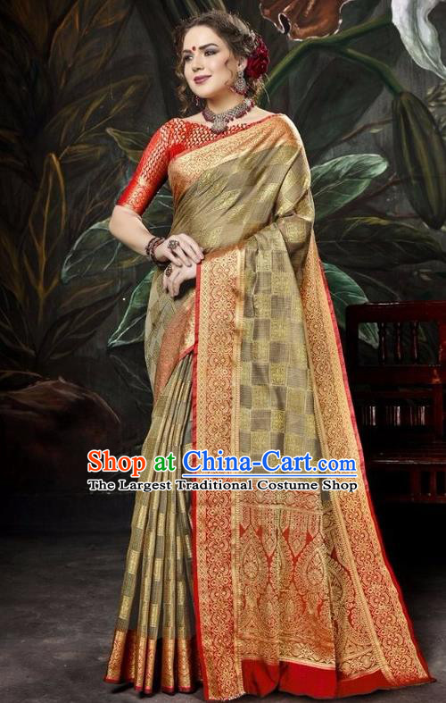 Asian India Traditional Bollywood Olive Green Sari Dress Indian Court Queen Costume for Women