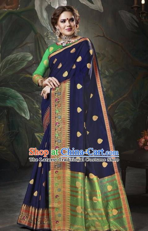Asian India Traditional Bollywood Navy Sari Dress Indian Court Queen Costume for Women
