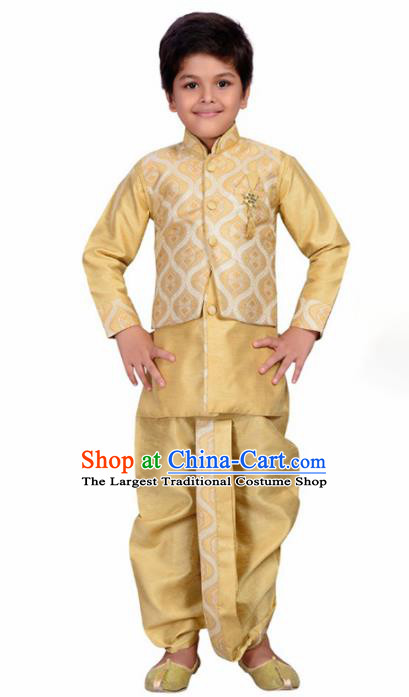 Asian India Traditional Costumes South Asia Indian National Golden Shirt and Pants for Kids