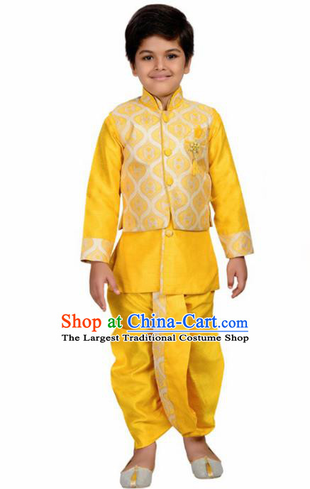 Asian India Traditional Costumes South Asia Indian National Yellow Shirt and Pants for Kids