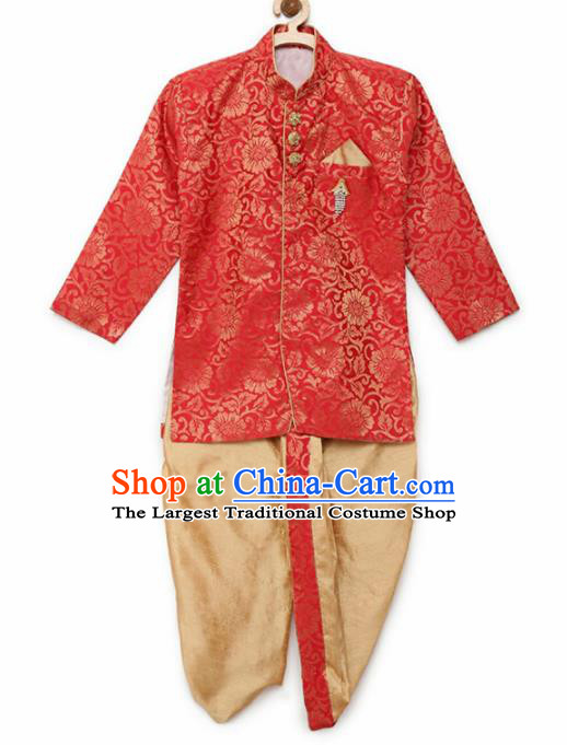 Asian India Traditional Costumes South Asia Indian National Red Shirt and Golden Pants for Kids