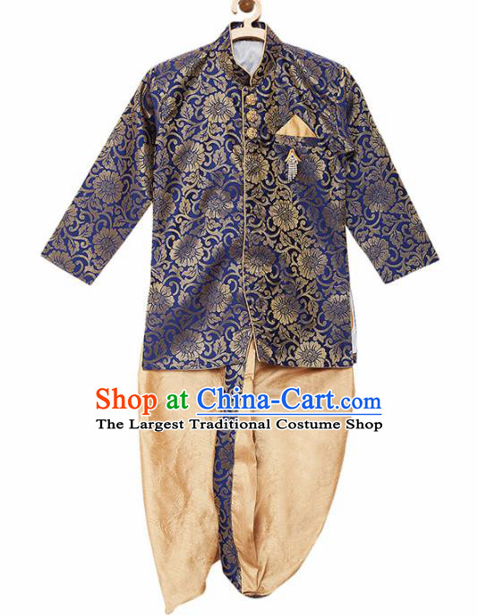 Asian India Traditional Costumes South Asia Indian National Royalblue Shirt and Golden Pants for Kids