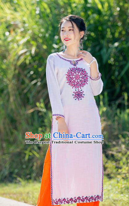 South Asian India Traditional Punjabi Costumes Asia Indian National White Blouse and Pants for Women