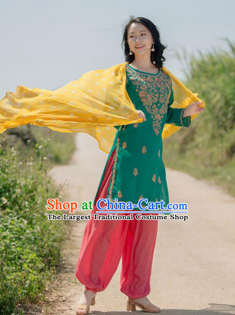 South Asian India Traditional Punjabi Costumes Asia Indian National Green Blouse and Pants for Women