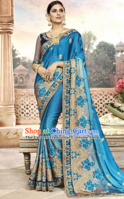 India Traditional Bollywood Blue Sari Dress Asian Indian Court Wedding Bride Costume for Women