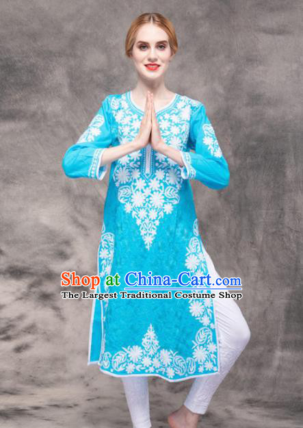 South Asian India Traditional Yoga Costumes Asia Indian National Punjabi Blue Blouse and Pants for Women