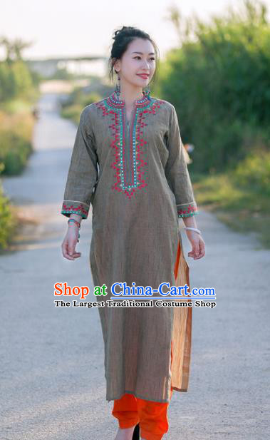 Asian India Traditional Punjabi Costumes South Asia Indian National Grey Blouse and Pants for Women