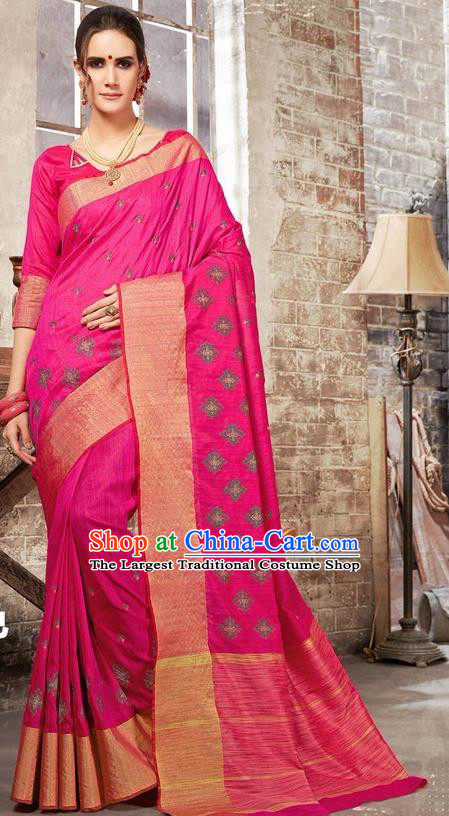 South Asian India Traditional Bollywood Rosy Sari Dress Indian Court Wedding Bride Costume for Women