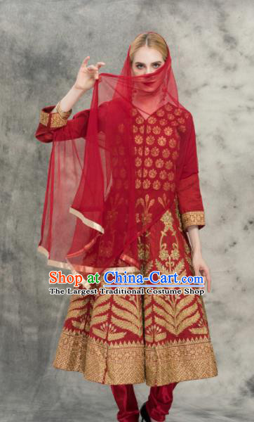 South Asian India Traditional Purplish Red Costumes Asia Indian National Punjabi Dress and Pants for Women