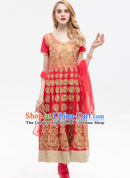 South Asian India Traditional Yoga Costumes Asia Indian National Punjabi Red Dress and Pants for Women