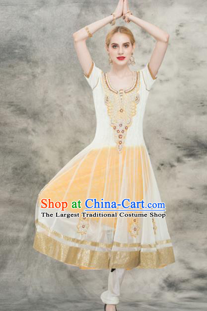 South Asian India Traditional Yoga Yellow Dress Asia Indian National Punjabi Costume for Women