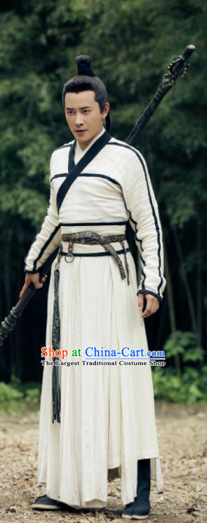 Traditional Chinese Drama Hoshin Engi Ancient Shang Dynasty Swordsman Yang Jian Historical Costume for Men