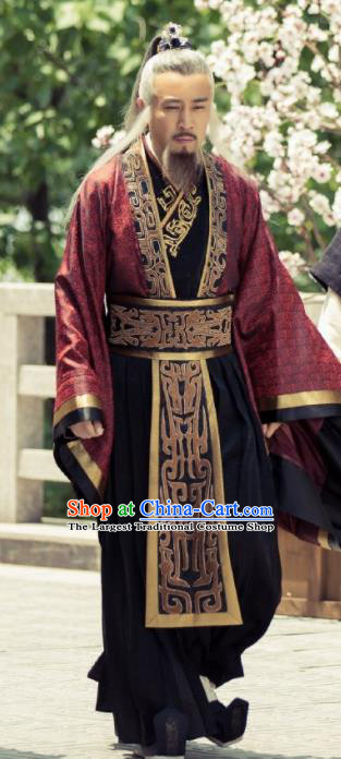 Traditional Chinese Ancient Legend Hoshin Engi Zhou Dynasty Prime Minister Jiang Ziya Historical Costume for Men